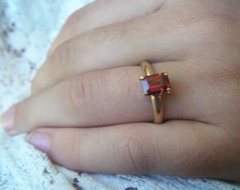GARNET engagement ring, Alternative engagement, emerald cut garnet gold ring, rectangle red garnet ring, ethical gold, conflict free gem