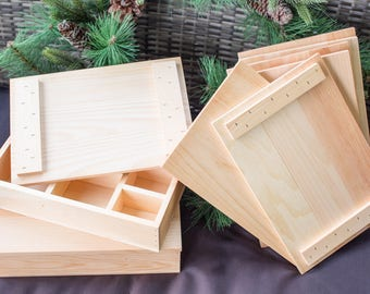 Solid pine box with compartments