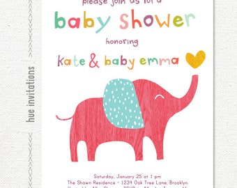 pink elephant baby shower invitation, baby girl elephant party, pink purple blue yellow woodgrain heart, 5x7 digital file jpg or pdf 281