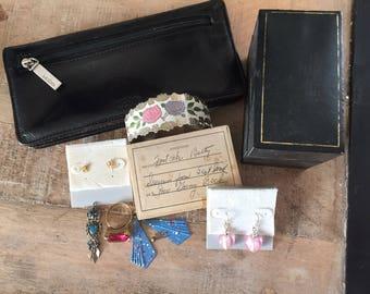 Vintage HOBO Wallet Sterling Owl Pendant Enamel Cuff Bracelet Pink & Purple Roses | Pink Hearts| Cupid Earrings | Craft Jewelry Lot