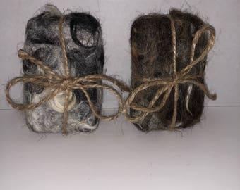 Alpaca felted organic soap bars