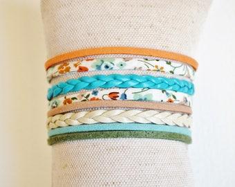 Turquoise, orange, beige and khaki Cuff Bracelet