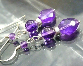 Amethyst Sterling Silver Earrings purple faceted gemstones closeout sale! jewelry