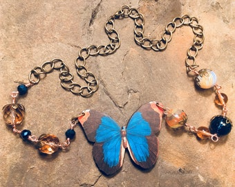 Wooden butterfly necklace, whimsical, beautiful, blue