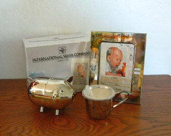 International Silver Company - Silver Plated Baby 3-Piece Gift Set - Picture Frame - Baby Cup - Piggy Bank