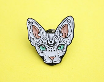 Mystical Sphynx cat enamel pin - WHITE - hairless cat - cat pin - cat gift - magical cat - mystic cat - pin badge - flair - lapel pin