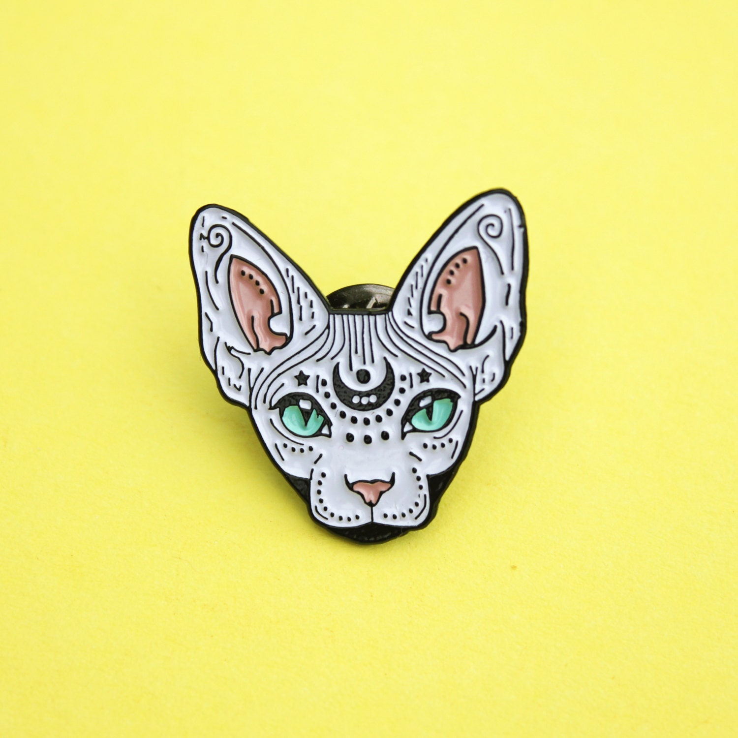 Mystical Sphynx cat enamel pin WHITE hairless cat cat