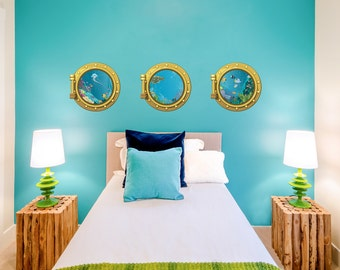 Sea Portholes Printed Wall Decal Underwater Decal, Ocean Decal, Nursery  Ocean Art,