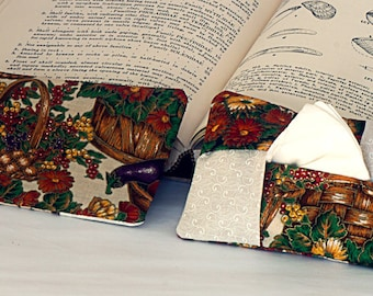 Tissue or Kleenex Holder. Fall Harvest Basket Tissue keeper. For Purse, Gift, Stocking Stuffer, Teacher, Student Gift.   Basket theme.