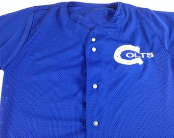 Indianapolis Colts Jersey Sports Belle Mens Small USA Made Button Up NFL Football