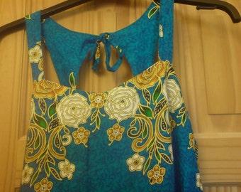 Sale Vintage 70s Blue Floral Cut Out Batik Maxi Dress Hippie Boho