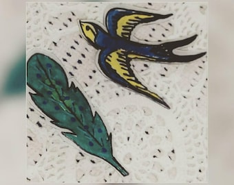 Swallow and a Feather Pin Set