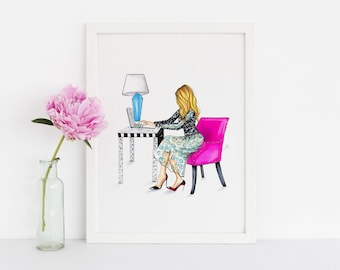 The Pink Chair - Fashion Illustration Print - Office Decor - Illustration - Fashion Art - Art - Gift Ideas - Home Decor