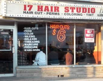 Chicago Photography, Rogers Park photo, hair salon, beauty shop, stylist, street photography, vintage neon sign, haircuts, hair, neon, six
