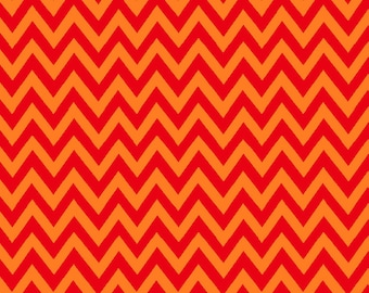 Orange Chevron by Fabriquilt Fabrics construction Truck stop tangerine small chevron