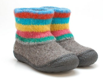 Felt wool boots Colors size EUR 36 / US 6 - felted wool shoes valenki