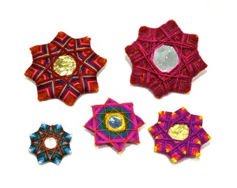 VINTAGE: 5 Handmade Colorful String Star Ornament - Mexico Ornaments - Made in Mexico - SKU 15-C1-00010041