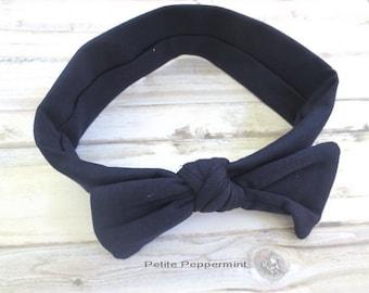 Navy Blue baby headband - Baby Head Wrap - Bow Knot Headband - Baby Turban - Knotted Bow headband - Top Knot Headband