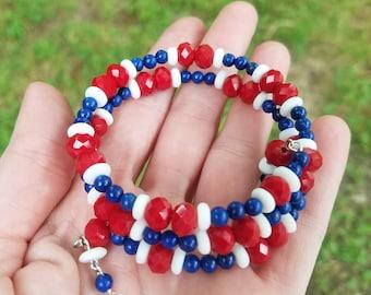 Red/White/Blue memory wire wrap bracelet!