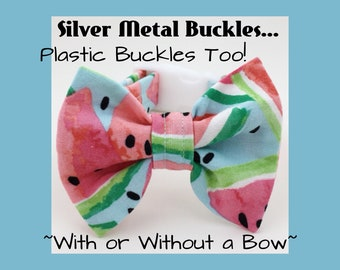 Silver Buckles + Watercolor Watermelon & Bow Dog or Puppy Collar
