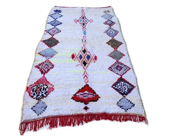 """134""""X55"""" Vintage Moroccan rug woven by hand from scraps of fabric / boucherouite / boucherouette"""
