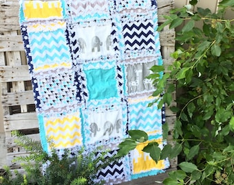 Giraffe and Elephant Blanket - Navy / Gray / Yellow / Turquoise Crib Bedding Flannel Baby Blanket- Jungle Nursery- Safari Nursery Crib Quilt