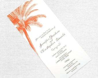 Vintage Palm Tree Wedding Invitation, Destination Wedding Invite, Beach, Tropical