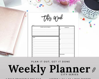 Weekly Organizer Weekly Planner Weekly To Do List Weekly Task List This Week Work Organizer | PWEK-1200-A, Instant Download