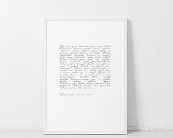 Wish You Were Here ART PRINT Pink Floyd Lyrics Poster | Black and white song quote | Song lyrics word wall art typography minimalist artwork