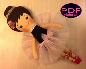 ballerina doll pattern PDF sewing tutorial tutu doll making doll soft doll pattern pdf doll pattern cloth doll pattern rag doll making