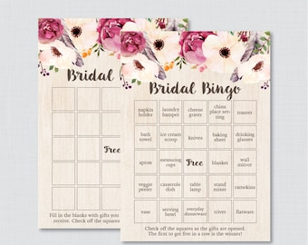 Boho Bridal Shower Bingo Printable - 60 Unique Pre-filled Bingo Cards AND Blank Cards - Bohemian Bridal Bingo with Flowers and Feathers 0006