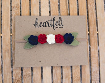Fourth of July Felt Flower Crown Newborn, Baby, Girls *  Red, White and Blue * Memorial Day* Fourth of July