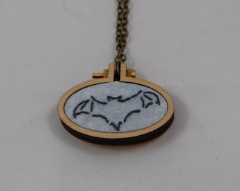 Embroidered Bat Silhouette Mini Hoop Necklace