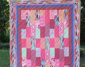 Handmade Quilt:  Orange, Brown, Blue