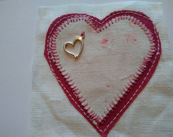 Faded Floral Heart card with heart charm