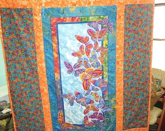 Brightly Colored Butterfly Quilt