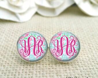 Monogram  Earrings, Monogram Jewelry, Pink Monogram Earrings, Lilly Pulitzer Inspired Earrings, Silver Monogram Earrings, Lobstah Roll Print