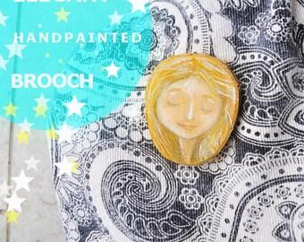 Miniature dreamy girl brooch - handpainted, woodland fairy bride - forest wedding bridal jewellery - brooches meditation jewelry