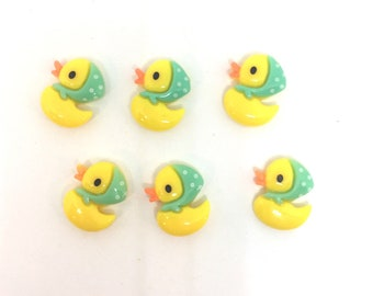 Baby Yellow Duck Push Pins Thumb Tacks, Magnets  or wine charms x6, Baby Shower Drink Identifier, Cork Board Decor, Refrigerator Magnet