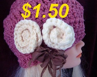 Hat crochet pattern, BERET,  num 574,  Penelope, size  fits age 12 to adult, sell your finished hats, Instant digital download