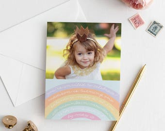 Rainbow Birthday Invitation, Rainbow Invite, Somewhere Over the Rainbow, Girls Party Invitation, Pastel Rainbow Birthday, Colorful Rainbow