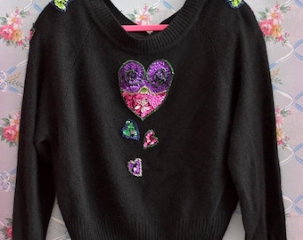 SHOP SALE Vintage 1980s Pullover Sweater with Sequins Hearts by Extra Energy Size Medium