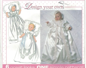 Simplicity 7488 Baby Christening Dress Coat and Bonnet Pattern Size NB 6M