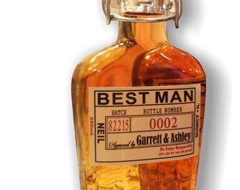 Groomsman Flask with Labels - Liquor Bottle Flask with Waterproof Labels - Personalized Liquor Bottles -  500ml - 17oz bottle -Customizable