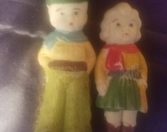 Antique Porcelain Bisque Cowboy and Cowgirl