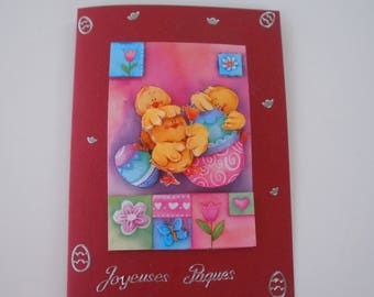 4 - 3d greeting card Happy Easter chicks