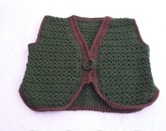 Ready to Ship BOY Size 2 Vest Olive Green Brown Crocheted Handmade Lightweight Fall Autumn Dressy Night and Day Crochet Etsyturns13