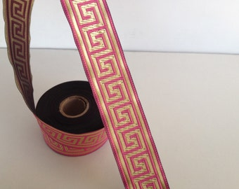 33 mm pink gold Jacquard ribbon, Embroidered border, Sewing trim, Embroidered ribbon, pink and gold Greek key Jacquard trim, Woven Border