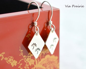 Japanese Flower Tree, Flower Tree earrings, Dandelion dangle, gift for her, Japan jewelry, Free spirit earrings, 925 Sterling silver