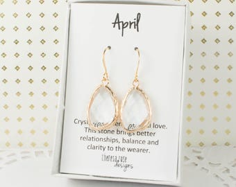 April Birthstone Gold Earrings, Large Clear Gold Dangle Earrings, April Birthday Jewelry, Bridesmaid Jewelry, Gold Earrings